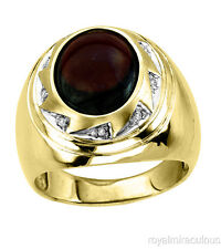 Mens Diamond Ring Garnet (January) 14K Yellow or White