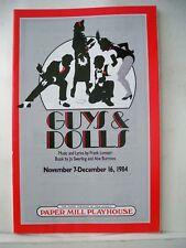 GUYS AND DOLLS Playbill JACK CARTER / LARRY KERT / LENORA NEMETZ Paper Mill 1984