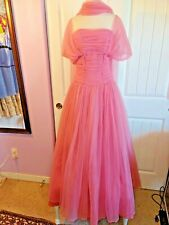 Vintage Emma Domb Evening Gown Formal Party Tulle Prom Dress Sz 14 Gown Pink Evc