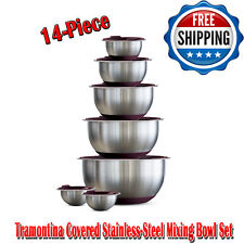 Tramontina Covered Stainless-Steel Mixing Bowl Set, Set Include 7 Sizes 14-Piece