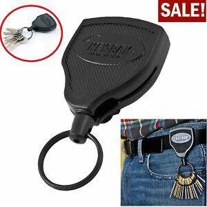 """Retractable Key Tool Reel Holder Steel Belt Clip Chain Heavy Duty Split Ring 48"""""""