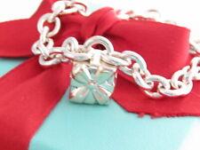 "Tiffany & Co Silver Gift Padlock Heart Charm Bracelet 7.5"""