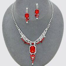 Gioielli Rosso Diamante Set Collana Orecchini Luccicante Prom STRASS 0500