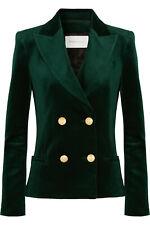 New $1175 Pierre BALMAIN Green Velvet Double Breasted Blazer Jacket US 4 6 FR 38
