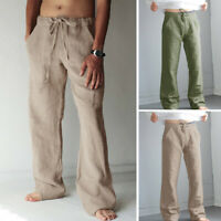 Men's Hakama Linen Pants Elastic Waist Loose Trousers Beach Cotton Yoga Trousers