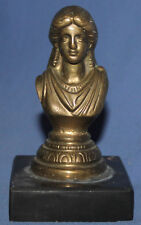 VINTAGE HAND MADE BRASS WOMAN BUST FIGURINE WITH MARBLE BASE