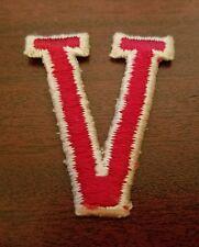 Letter V Red Sew On Patch Victory Vicki Vail Virginia Vance Vernon Valerie Van