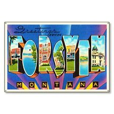 Forsyth Montana mt Travel Postcard Metal Sign Wall Decor STEEL not tin 36x24