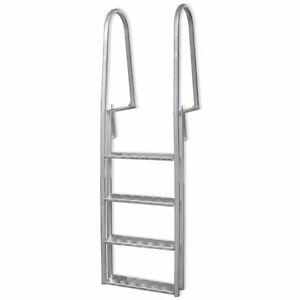 vidaXL Dock Ladder Aluminium 167 cm Non Slip Heavy Duty Swimming Pool 4 Steps