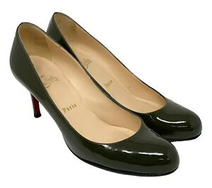 Christian Louboutin Patent Leather Heels #38.5 US 8 Khaki Round Toe RankAB