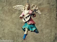 Antique 19thc. Italian Sculpted RED CLAY ANGEL w Instrument Xmas Ornament A