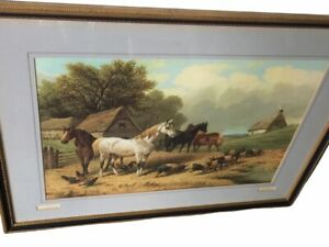 """RARE """"Idle Moments"""" by J.F. Herring Matted Framed Horses Pigs Barn Farmhouse 31"""""""