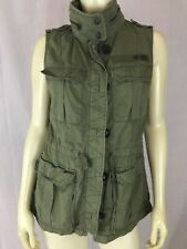 Abercrombie & Fitch Vest M Army Green Cotton Zip/ Button Front Utility Pockets