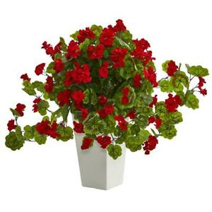 Geranium Artificial Plant In White Tower Planter Nearly Natural Home Decor Red