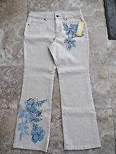 NWT New Womens Coldwater Creek 10P 10 Petite Beige Embellished Jeans Boot Cut