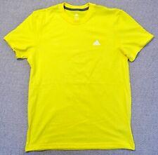 New Adidas Apparel Crew Plain Yellow Chest Logo Mens Classic S/S T Shirt ADI-12