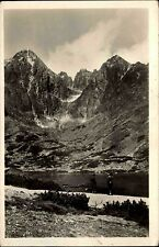 Vysoké Tatry Slowakei alte Ansichtskarte 1949 Hohe Tatra Panorama mit See Berge