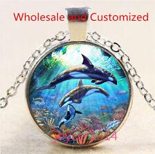 Whale Cabochon Silver/Bronze/Black/Gold Glass Chain Pendant Necklace #5190