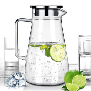 Water Glass Jug 1.5L Cold /Hot Water Glass Pitcher Carafe Stainless Steel Lid