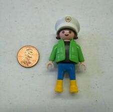 PLAYMOBIL Figure CHILD GIRL Black Brown Hair w/ Sailor Hat Green Jacket