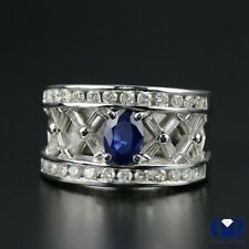 Natural 2.35 Ct Oval Sapphire Diamond Cocktail Ring  Anniversary Ring 14KWG