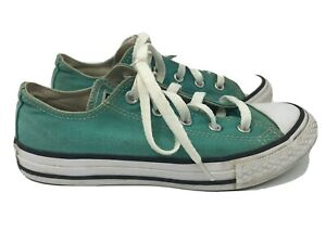 converse all star youth Size 2 green low top sneaker canvas ox Basketball Shoe