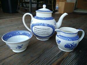 Wesley Wedgwood Teapot Blue White English Porcelain Sugar Bowl & Creamer