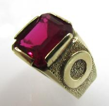 10K YELLOW GOLD SYNTHETIC RUBY EMERALD CUT SOLITAIRE RING SIZE 4 - 4.8gr
