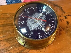 Vintage Downeaster TALL SHIPS BOSTON Classic Brass Quartz Clock - Made in USA