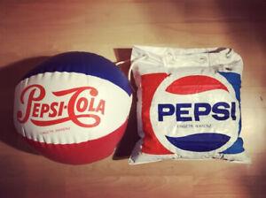 Pepsi Wasserball und aufblasbare Tasche aus den 1970er Jahren, wie Neu,