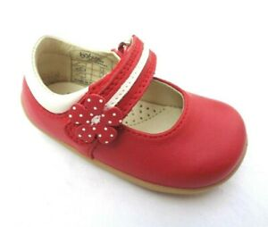BOBUX BABY TODDLER STEP UP MARY JANE RED LEATHER PRETTY PARIS SHOES UK2/EU18