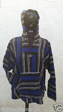 X-L Mexican Baja Hippie Surfer Pullover Hooded Sweater Royal Blue/Dark Grey/Whit