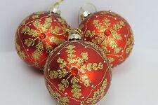 GISELA GRAHAM CHRISTMAS MATT RED GLASS BAUBLE WITH GOLD SNOWFLAKE JEWEL  X 3