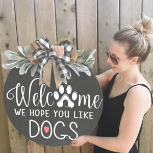 Welcome Wreaths Front Door Welcome Sign for Farmhouse Rustic Wooden Door Decor