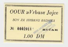 Local note bons coupon -1 DM Germany Mark OOUR VRBAS JAJCE, Bosnia ex Yugoslavia