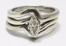 100% Genuine 18k Solid White Gold 0.55cts Diamond 3 Stacker Ring Sz 5.5 US