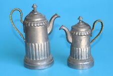 2 antike Zinnkannen/Kanne/Kännchen für Kaffee/ Kakao/ Mocca mit Bast