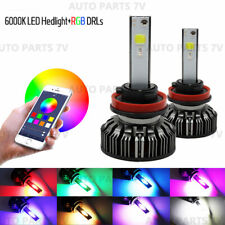 Pair H8 H11 72W Car LED RGB Headlight APP Bluetooth Control Drive Fog Lamp