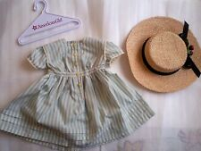 New American Girl - Kirsten's Summer Dress & Straw Hat SET for Doll Size ~ RARE~