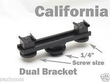 "Camera Dual 1/4"" Screw Bar Bracket Cold Shoe DV Video Extension Light HotShoe"