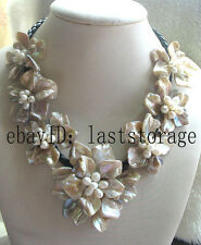 """freshwater pearl sea shell flower champange 18.5"""" necklace nature wholesale bead"""