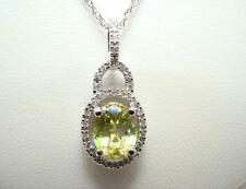 "Martini Fire Mystic Topaz Oval and Diamond Necklace 14K WG 18"""