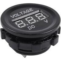 1X( DC 12V-24V Affichage moto LED Digital voltmetre Panneau rond (affichage Q4V