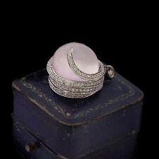 Antique Vintage Art Deco Style 10k Gold Pink Moonstone Diamond Necklace Pendant