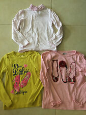 3 girls SHIRTS LOT dance shoes BALLET SLIPPERS turtleneck L/S jewels SIZE 5-6