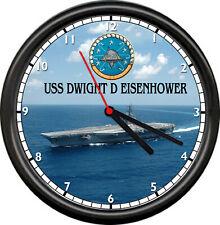 USS Dwight D Eisenhower CVN 69 US Navy Veteran Military Ship Sign Wall Clock