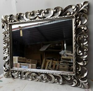 Mirror Baroque Wooden Inlaid CMS 100x80 Silver Antiqued Model Tommy Tamp