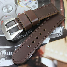 24x24mm Cow Leather Strap Band for 44mm Panerai Luminor Watch Cholocate Brown