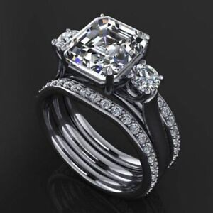 5.95Ct White Asscher Cut Diamond Engagement Wedding Ring Set 925 Sterling Silver