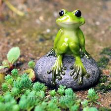 Miniature Fairy Garden Cute Frog on Stone